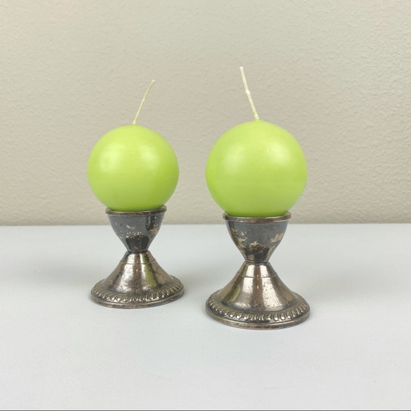 """VTG DUCHIN CREATIONS Sterling Silver Weighted Candle Stick Holders 2.5"""" Round Ba"""